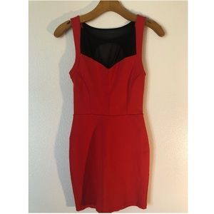Bebe dress -Red/Black semi backless